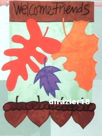 ACORN WELCOME Toland Garden Flag Large Applique Fall Autumn