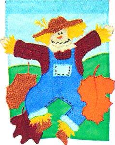SCARECROW DANCE Toland Garden Flag Large Applique Fall Autumn