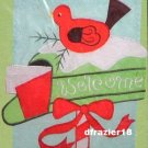 CHRISTMAS MAILBOX Toland Decorative Garden Flag Mini Applique Red Bird Welcome