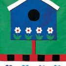 BLUE BIRDHOUSE Toland Decorative Garden Flag Large Applique Bird House