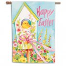 HAPPY EASTER Toland Decorative Garden Flag Baby Chick Birdhouse Large