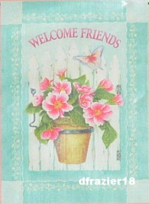 Spring Garden Flag Decorative Small Size Mini Welcome Friends PRIMROSE GATE