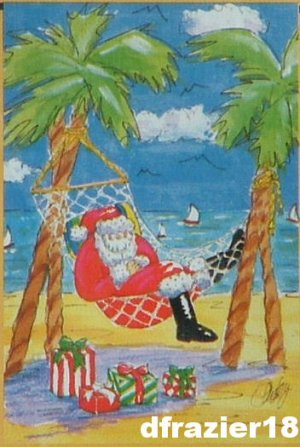 TROPICAL SANTA Claus Toland Decorative Garden Flag Mini Small Size After Christmas Winter