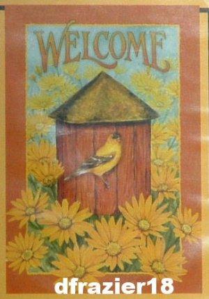BARN BIRDHOUSE Toland Decorative Garden Flag Mini Small Size Winter