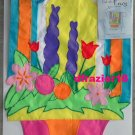 OPEN FOR SPRING Toland Decorative Garden Flag Mini Applique Flowers
