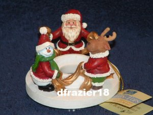 Stay On Top Jar Candle Topper Capper Santa & Snowman CIRCLE OF CHRISTMAS FRIENDS