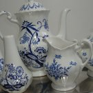 Staffordshire Chatsworth Nordic Blue Teapot, Cream and Sugar, and Salt and Pepper Set