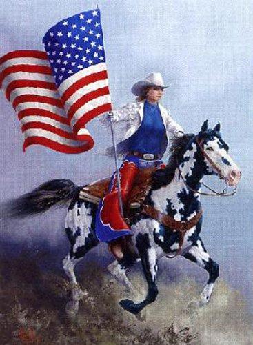 Rodeo Flag Paint Horse Cross Stitch Pattern***L@@K***