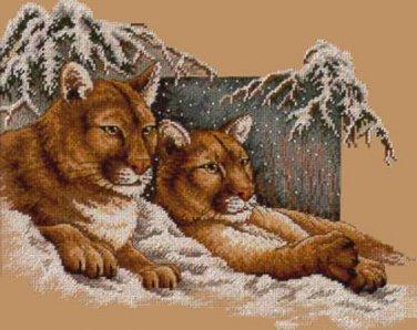 Snowy Cougars Cross Stitch Pattern***L@@K***