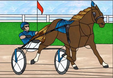 Stain Glass Harness Racing Cross Stitch Pattern***L@@K***