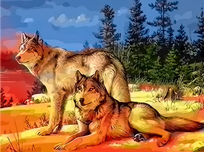 Wolves At Sunrise Cross Stitch Pattern***L@@K***