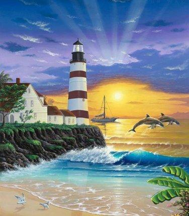 Light House Sun-Rise Cross Stitch Pattern***LOOK***