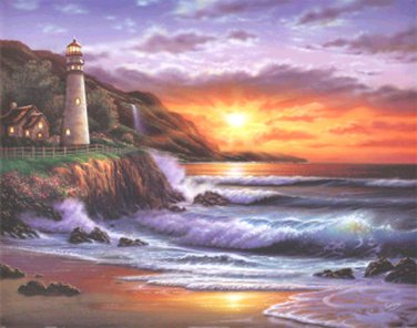 Lighthouse Sunset Cross Stitch Pattern***LOOK***