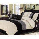 Essence Faux Silk Black/Cream/Gray 7 Piece Comforter Set