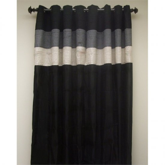 Essence Black/Gray Two Grommet Drapes 60 x 84 Each