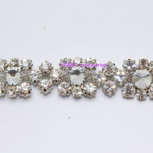 LG-368 costume applique clear rhinestone crystal silver chain trim for wedding cake / gown 1 yard