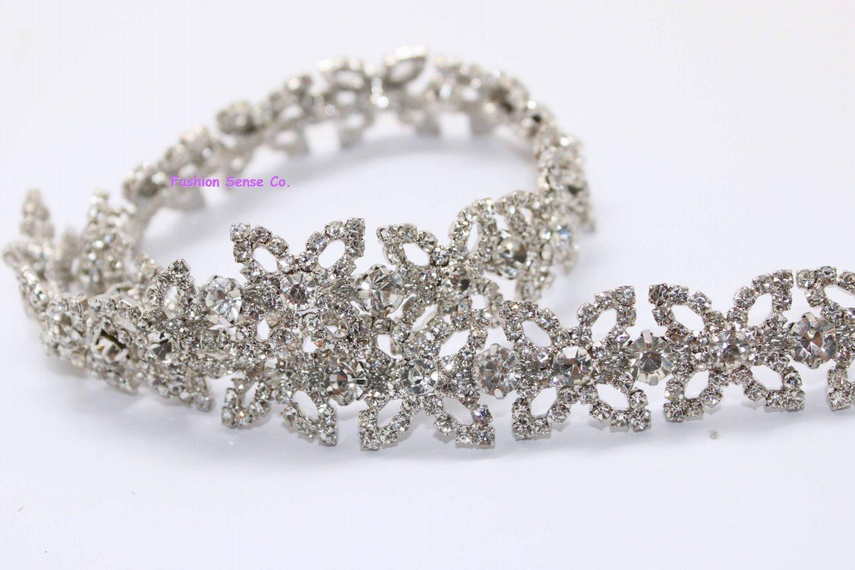 LG-475 wedding cake decor headdress craft rhinestone crystal silver plating chain trimming 1 yard