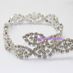 LG-400 wedding cake decor headdress craft rhinestone crystal silver plating chain trimming 1 yard