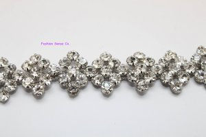 LG-483 wedding cake decor headdress craft rhinestone crystal silver plating chain trimming 1 yard