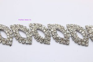 LG-456 wedding cake decor headdress craft rhinestone crystal silver plating chain trimming 1 yard