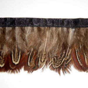 10 yards Ringneck Pheasant feather fringe costume ribbon trimming lace trim brown