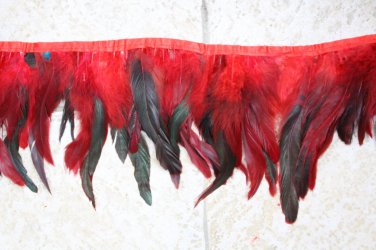 10 yards Clothing costume coque feather fringe couture applique trimming craft RED