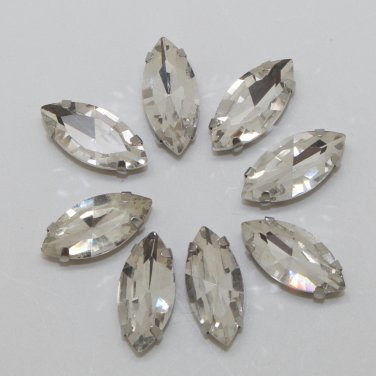 Marquis navette 7x15mm millinery craft stitch sew on montee loose bead GLASS crystal chaton silver
