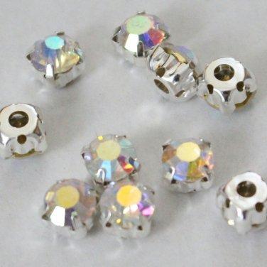 montee loose 8mm crystal sew on AB rhinestone Silver 288pcs