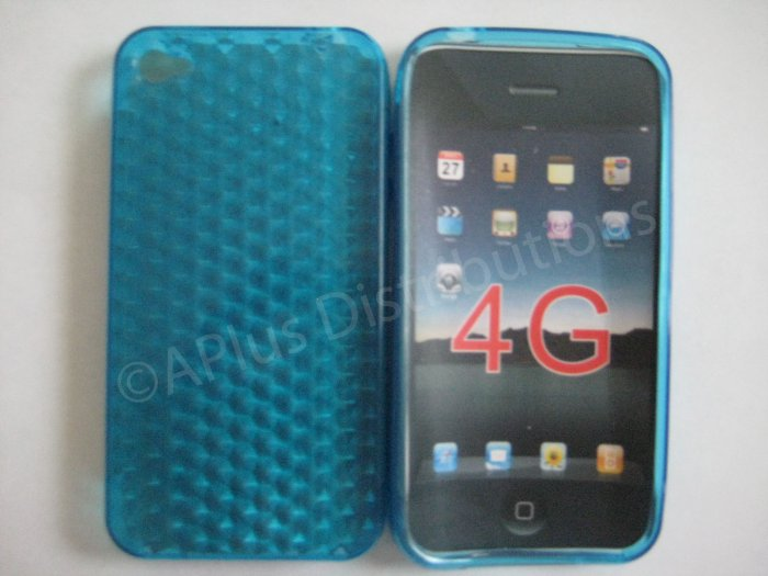 Diamond Cut TPU Soft Case Cover for apple iphone 4G(Blue)