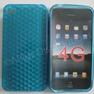 Diamond Cut TPU Soft Case Cover for apple iphone 4G(Blue)