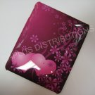 Plastic Hard Back Snap-On Cover for Apple iPad LOVE HEARTS WITH FLOWERS-HOT PINK