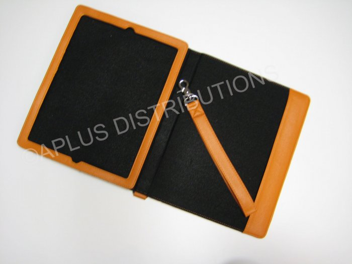 NEW LEATHER NOTEBOOK STYLE FOR APPLE iPAD - ORANGE