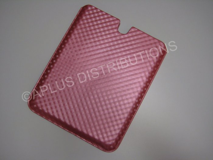 NEW FOR APPLE iPAD LEATHER CHECKERED PINK