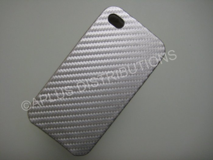 New Silver Carbon Flap Cover Design Hard Protective Cover For iPhone 4 - (0134)