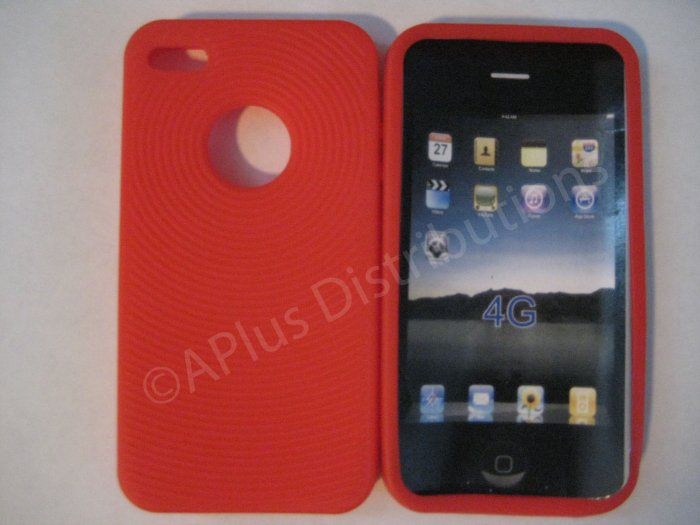 New Red Thumb Print Pattern Silicone Cover For iPhone 4 - (0136)