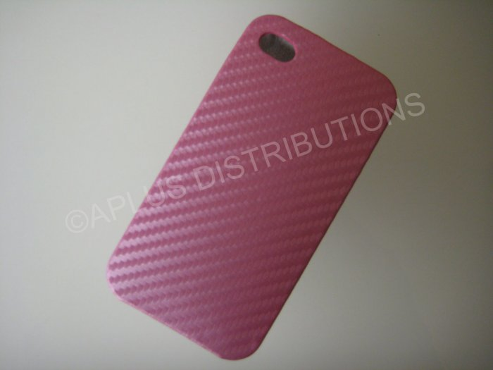 New Pink Carbon Flap Cover Design Hard Protective Cover For iPhone 4 - (0136)