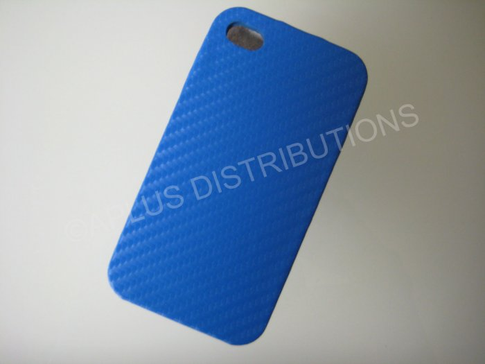 New Light Blue Carbon Flap Cover Design Hard Protective Cover For iPhone 4 - (0139)