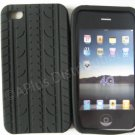 New Black Tire Print Pattern Design Silicone Cover For iPhone 4 - (0009)