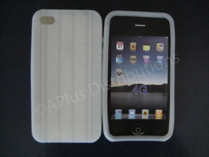 New Clear Tire Print Pattern Silicone Cover For iPhone 4 - (0006)