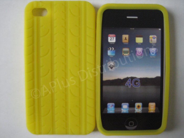 New Yellow Tire Print Pattern Silicone Cover For iPhone 4 - (0130)