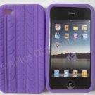 New Purple Tire Print Pattern Design Silicone Cover For iPhone 4 - (0007)