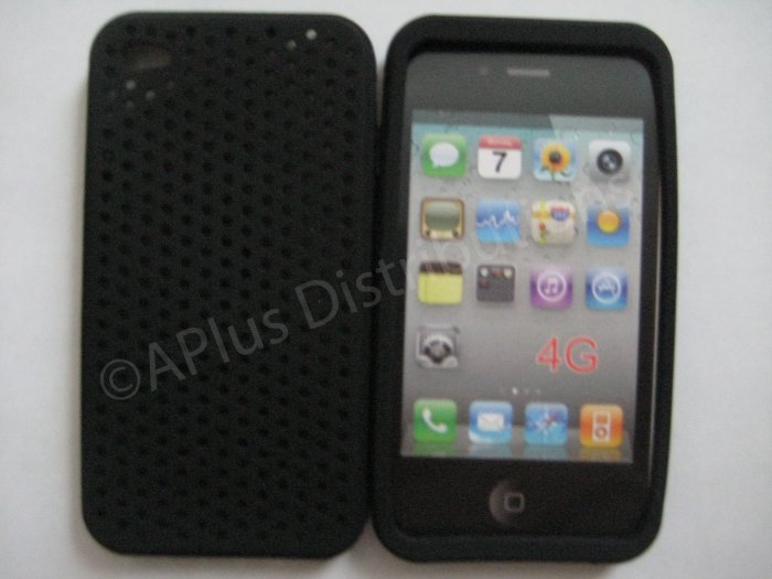 New Black Breathable Mesh Design Silicone Cover For iPhone 4 - (0174)