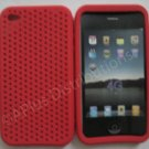 New Red Breathable Mesh Design Silicone Cover For iPhone 4 - (0168)