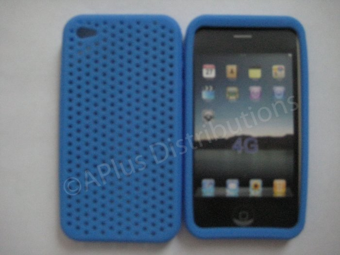 New Light Blue Breathable Mesh Design Silicone Cover For iPhone 4 - (0173)