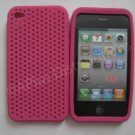 NEW Breathable Mesh Silicone Case For Apple iPhone 4G Hot pink