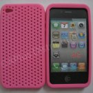 New Hot Pink Breathable Mesh Design Silicone Cover For iPhone 4 - (0164)