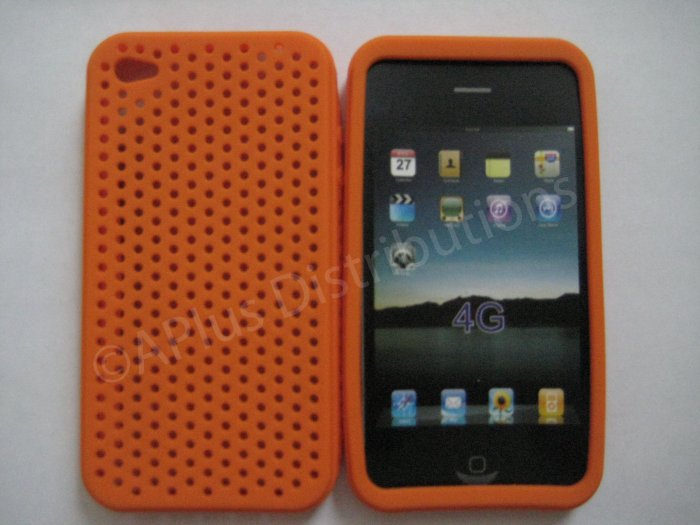 New Orange Breathable Mesh Design Silicone Cover For iPhone 4 - (0167)