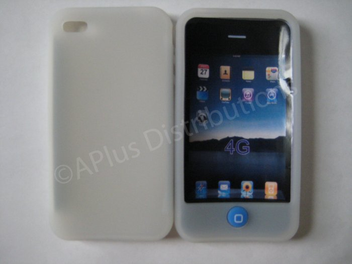 New Clear Solid Color W/Candy Button Design Silicone Cover For iPhone 4 - (0152)