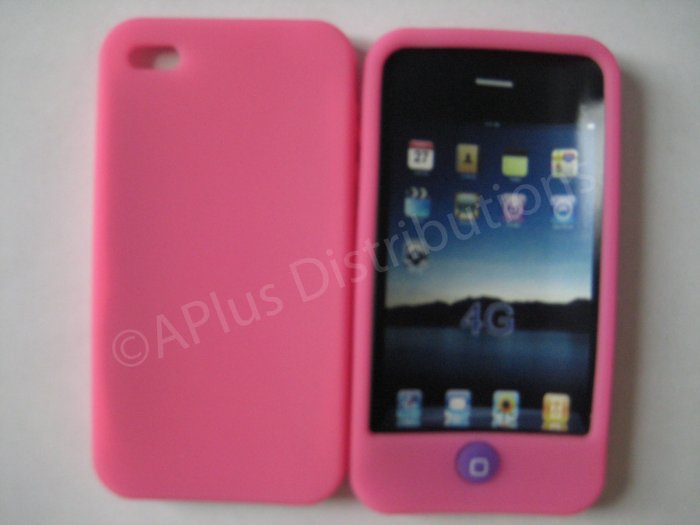 New Pink Solid Color W/Candy Button Design Silicone Cover For iPhone 4 - (0153)