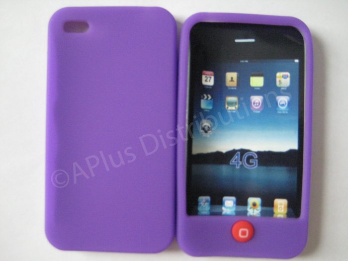 New Purple Solid Color W/Candy Button Design Silicone Cover For iPhone 4 - (0151)